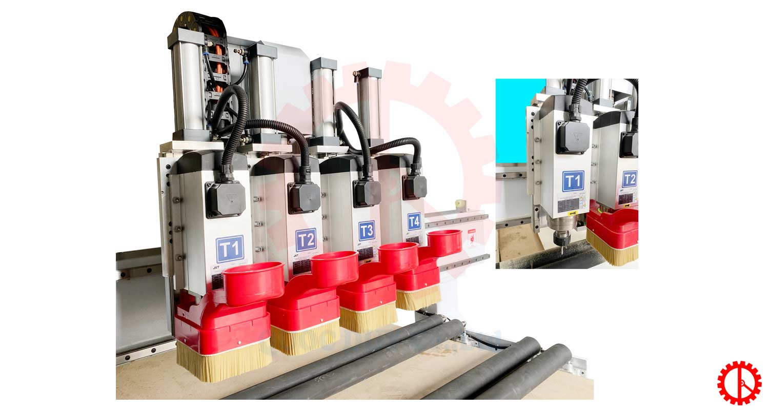 cluster of routers CNC router machines 4 heads 2 tables